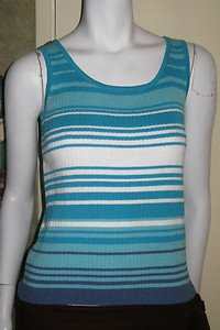 End on End Knitwear AQUA, WHITE & MEDIUM BLUE Sweater Tank Top SZ S