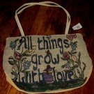 "WOMEN'S CANVAS ZIPPERED HANDBAG, ""ALL THINGS GROW WITH LOVE"" NEW WITH TAG!"