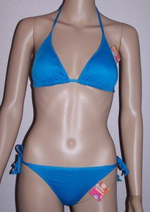 WOMEN'S TURQUOISE BLUE KNIT STRING BIKINI, SIZE L, NEW WITH TAGS!