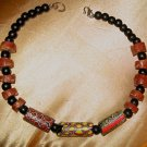 HAND-CRAFTED VINTAGE VENETIAN MILLEFIORI OBLONG BEAD AFRICAN CHOKER NECKLACE