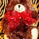 10 inch Christmas Holiday Brown Teddy Bear Stuffed Animal Red Ribbon NEW