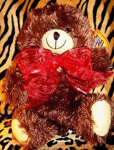 10 inch Christmas Holiday Brown Teddy Bear Stuffed Animal Red Ribbon NEW