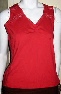LADIES SLEEVELESS RED TOP BY I.E. RELAXED WITH LACE INSERTS, SIZE SMALL NWT