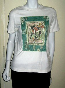 Petite Sophisticate White with Center Design Beaded T-Shirt Size Small