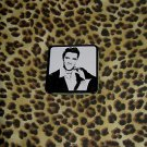ELVIS PRESLEY SMALL HINGED TIN  BLACK AND WHITE, ORIGINAL VINTAGE PIECE