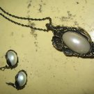 VINTAGE MOP PIN/PENDANT NECKLACE & EARRING SET. .