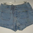 DENIM SHORTS BY BREAKER BLUE JEANS, SIZE 7. BLUE & WHITE DECORATIVE TIE