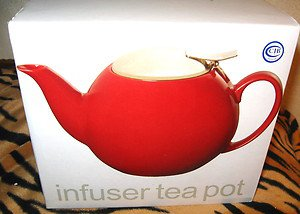 BRAND NEW INFUSER TEA POT STONEWARE/STAINLESS STEEL INFUSER NEW IN BOX