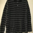 Men's Nautica Black & White Striped Polo Style Shirt Size L Long Sleeve