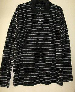 Men's Nautica Black & White Striped Polo Style Shirt Size L Long Sleeve