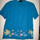 WOMEN'S BLOUSE BY ERIKA, SIZE S, 100 % COTTON TURQUOISE, TROPICAL FISH BORDER