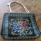 WOMEN'S CANVAS ZIPPERED HANDBAG, FLORAL TAPISTRY ON BLACK, NEW WITH TAG!