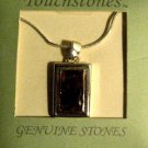 STERLING SILVER SNAKE CHAIN NECKLACE WITH GENUNINE AMBER PENDANT, NEW IN BOX