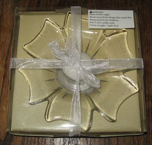 GLASS CANDLE DISH WITH TEALIGHT CANDLE, NEW IN GIFT BOX WITH RIBBON