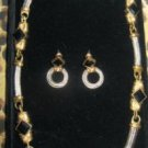 DESIGNER INSPIRED TWO-TONE CHOKER NECKLACE W EARRINGS