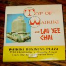 VINTAGE MATCHBOOK TOP OF WAIKIKI-LAU YEE CHAI FEATURES WAIKIKI BUSINESS PLAZA