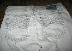JEANS BY WHITE HOUSE BLACK MARKET, SIZE 2, SEQUINS AND RHINESTONES ACCENTS
