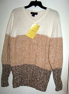 Denim And Co. Sweater With Tags Size Medium, Long Sleeves, Beige, Ivory & Brown