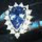 TANZANITE, DIAMOND, OPAL INLAY RING, 14 K GOLD, SIZE 7