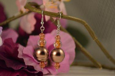 Ebony- Mahogany Dream, Golden Cat's Eye with Gliterring Gloss Beaded Earring Drops