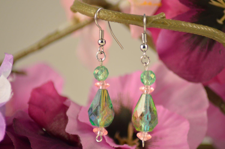 Veronica- Emerald Green Teardrop with Rose Pink Earring Dangles