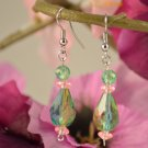 Veronica- Emerald Green Teardrop with Rose Pink Earring Dangles