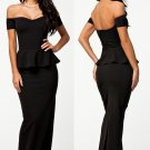 Black Peplum Evening Dress with Shoulder, Evening Dress