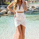 White Flirty Cutout Lace Tail Dress