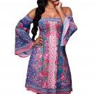 Blue Pink Floral Print Off-shoulder Boho Dress