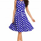 Blue Polka Dot Bohemain Print Dress with Keyholes