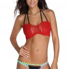 Crochet Top Neoprene Bottom Bikini Swimwear