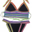 Multicolor Tie Up Crochet Black Neoprene Bikini Swimsuit