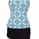 Abstract Print Racerback Tankini Blue Skort Swimsuit