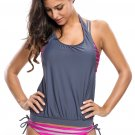 Rosy Grey Striped Bathing Suit with Halter Beach Cover Top
