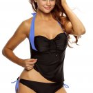 Women Black Blue Halter Neck Tankini Swimsuit