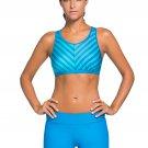 Blue Stripe Patten Sport Bra Swim Trunk 2pcs Swimsuit