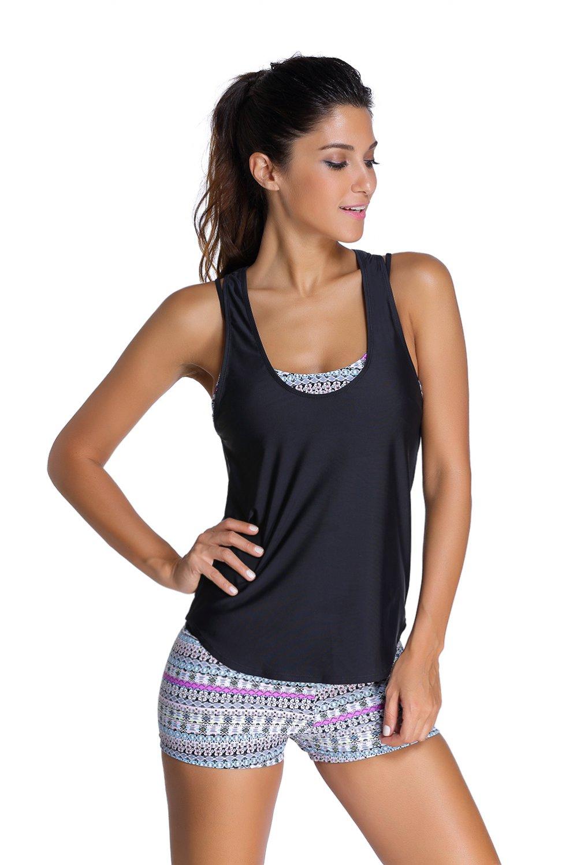 Stylish Grayish Sports Bra Tankini Swimsuit with Black Vest