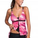 Pinkish Print Tankini Skort Bottom Swimsuit
