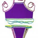 Purple Handmade Crochet Neoprene Tankini Swimsuit