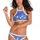 Inked Stripe High Neck Tankini Swimsuit