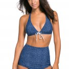 Navy Faux Denim High Rise Bottom Swimwear