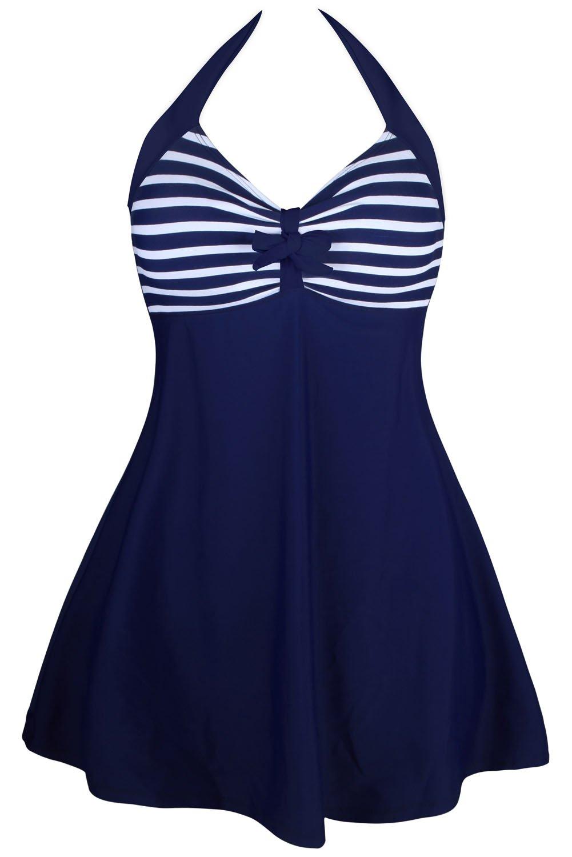 Navy White Stripes One-piece Swimdress