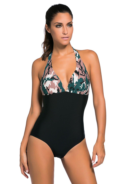 Dark Camouflage Print Black Body One-piece Swimwear