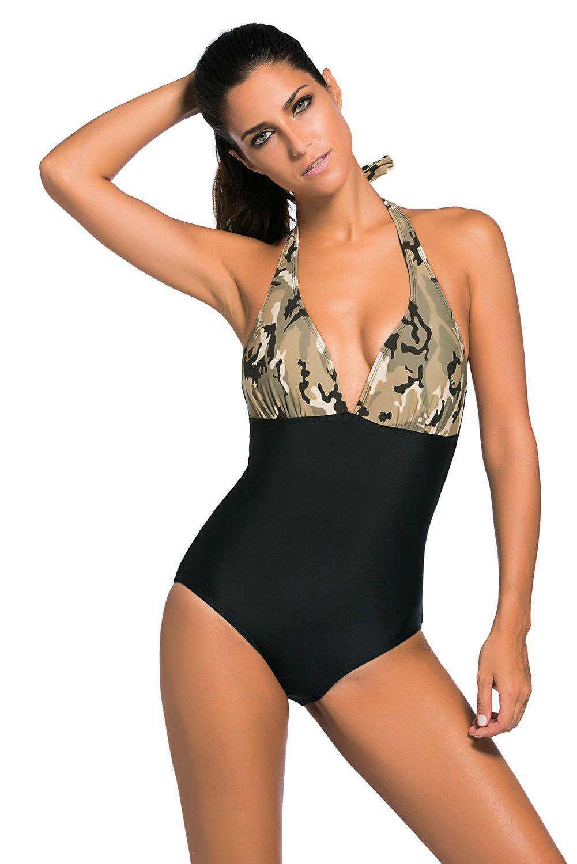 Light Camouflage Print Black Body One-piece Swimwear