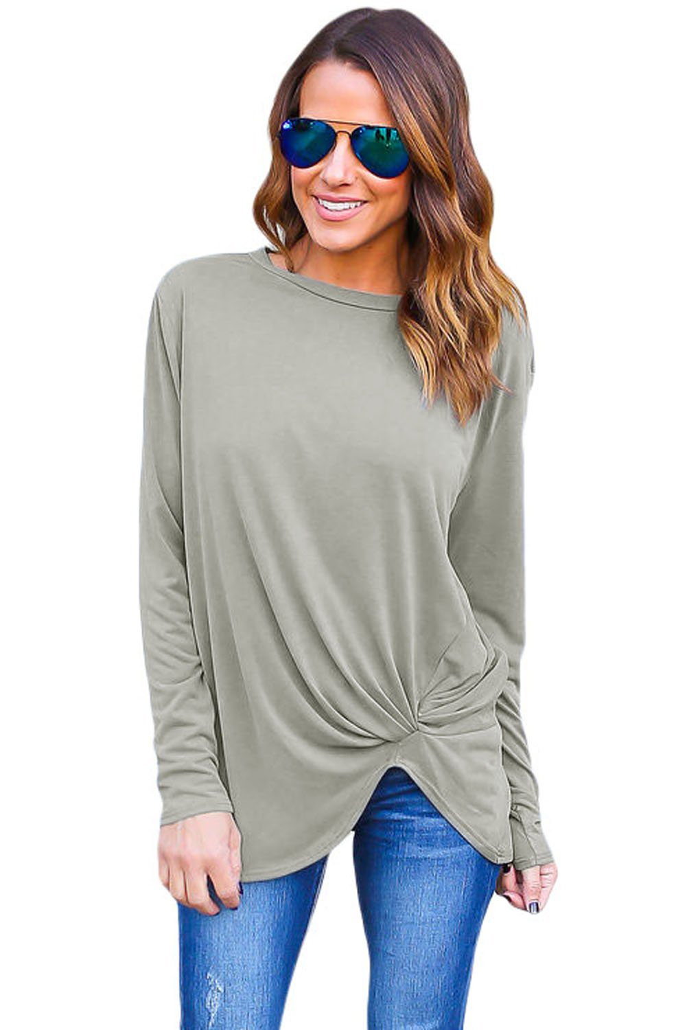 Fashion Girls Gray Long Sleeves Drape Top