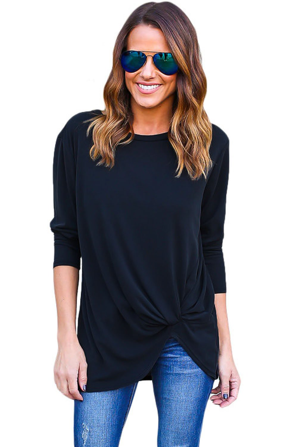 Navy Long Sleeves Drape Top for Women