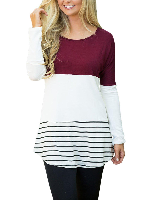 Wine Color Block Lace Patchwork Long Sleeve Blouse Top