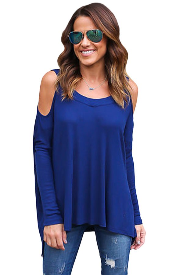 Blue Long Sleeve Relaxed Fit Cold Shoulder Top