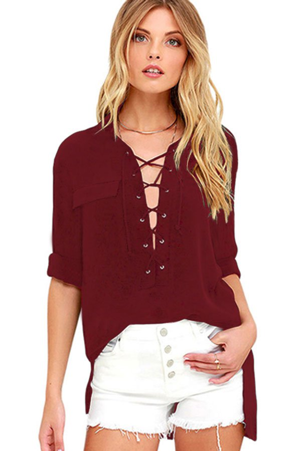 Burgundy Long Sleeve Lace-up Top