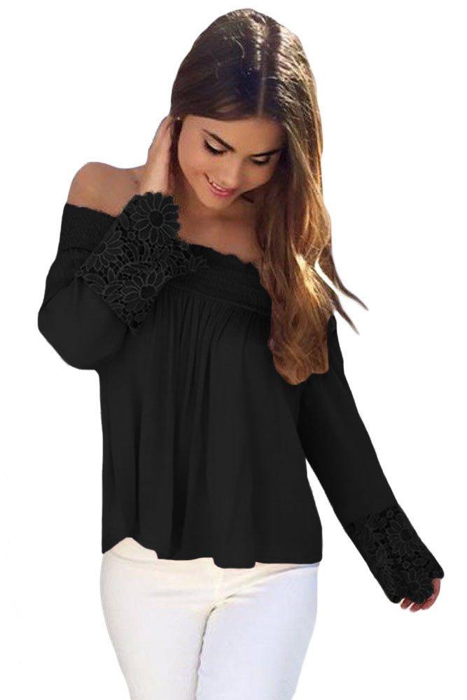 Black Crochet Lace Long Sleeve Off Shoulder Top